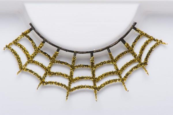Goldene Wimpern in Spinnweben-Optik