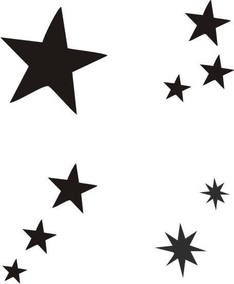 Glitzertattoo und Airbrush Schablone - Sterne